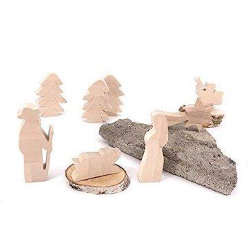 Maria, Josef und Krippe - handgefertigte Krippenfiguren aus Holz - Weihnachtsgeschenk, Nikolaus - 2