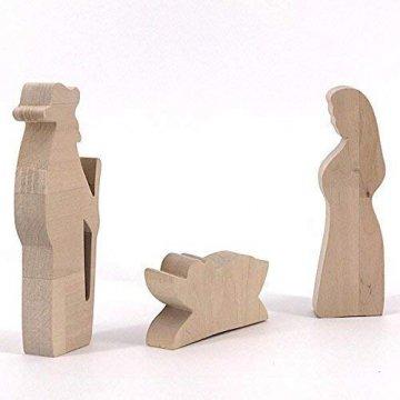 Maria, Josef und Krippe - handgefertigte Krippenfiguren aus Holz - Weihnachtsgeschenk, Nikolaus - 3