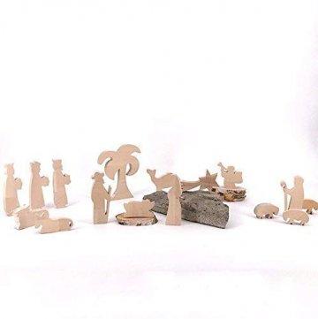 Maria, Josef und Krippe - handgefertigte Krippenfiguren aus Holz - Weihnachtsgeschenk, Nikolaus - 4
