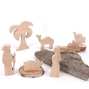 Maria, Josef und Krippe - handgefertigte Krippenfiguren aus Holz - Weihnachtsgeschenk, Nikolaus - 1