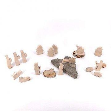 Maria, Josef und Krippe - handgefertigte Krippenfiguren aus Holz - Weihnachtsgeschenk, Nikolaus - 7