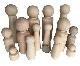 MEIERLE & Söhne 14 Familie Männchen Figuren Holzfiguren Spielfiguren zum Bemalen Basteln Holz Puppen Krippenfiguren Spielfiguren Mann Frau Junge Mädchen Kinder - 1