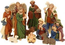 Spetebo Weihnachtskrippe Figuren - 11 Teile - Krippe Figur handbemalt Krippenzubehör - 1
