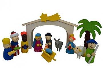 Spielkrippe mit hochwertigen Figuren aus Holz - 1