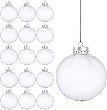 15 Weihnachtskugeln aus transparentem Kunststoff – befüllbare DIY Christbaumkugeln aus Plastik – klare und durchsichtige Kunststoffkugeln zum Befüllen als Christbaumschmuck oder zum Dekorieren - 1