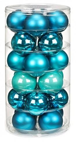 24 Christbaumkugeln GLAS 6cm // Weihnachtskugeln Baumkugeln Baumschmuck Weihnachtsdeko Kugeln Glaskugeln Dose, Farbe:Dazzling Club ( türkis ) - 1