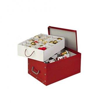 3 Stück XXL Dekokarton in Rot - formschön und hochwertig. Mit Einsätzen für max. 40 Christbaumkugeln oder Weihnachtsdeko. Karton aus stabiler Pappe in Rot mit Griffen aus Kunststoff! Topp - 3