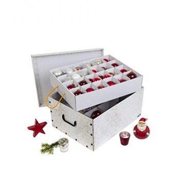 3 Stück XXL Dekokarton in Weiß/Gold - formschön und hochwertig. Mit Einsätzen für max. 40 Christbaumkugeln oder Weihnachtsdeko. Karton aus stabiler Pappe in Weiß/Gold mit Griffen aus Kunststoff! Topp - 3