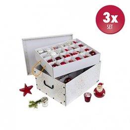 3 Stück XXL Dekokarton in Weiß/Gold - formschön und hochwertig. Mit Einsätzen für max. 40 Christbaumkugeln oder Weihnachtsdeko. Karton aus stabiler Pappe in Weiß/Gold mit Griffen aus Kunststoff! Topp - 1