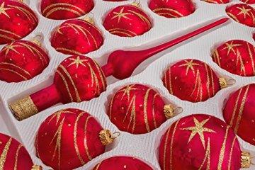 39 TLG. Glas-Weihnachtskugeln Set in Ice Rot Gold Komet - Christbaumkugeln - Weihnachtsschmuck-Christbaumschmuck - 2