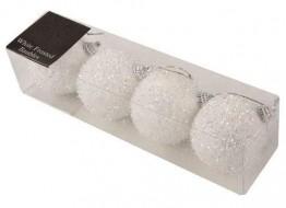 4 Packe 7cm Weißes Glasiertes Weihnachtsglitzern Baubles PM187 - 1