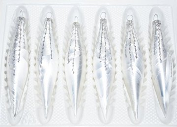 """6 tlg. Glas-Zapfen Set in """"Ice Weiss Silber"""" Regen - Christbaumkugeln - Weihnachtsschmuck-Christbaumschmuck - 1"""