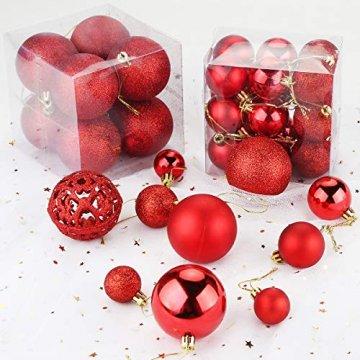 Aitsite Christbaumkugeln Weihnachtskugeln 6CM/4 cm/2 cm Wandbehang Ornamente Weihnachtsbaum Kugeln Flitter Tür Dekorationen Festival Dekore - 3