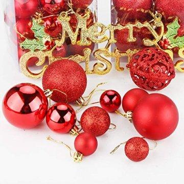 Aitsite Christbaumkugeln Weihnachtskugeln 6CM/4 cm/2 cm Wandbehang Ornamente Weihnachtsbaum Kugeln Flitter Tür Dekorationen Festival Dekore - 4