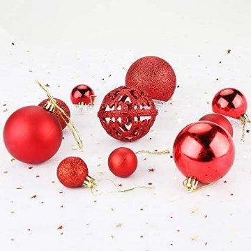 Aitsite Christbaumkugeln Weihnachtskugeln 6CM/4 cm/2 cm Wandbehang Ornamente Weihnachtsbaum Kugeln Flitter Tür Dekorationen Festival Dekore - 5
