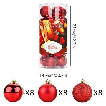 Aitsite Weihnachtskugeln Weihnachtsbaum 6 cm Kugeln Flitter Tür Christbaumkugeln Wandbehang Ornamente Dekorationen Baum Dekorative Kugeln - 2