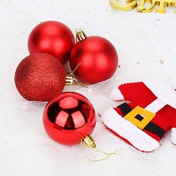 Aitsite Weihnachtskugeln Weihnachtsbaum 6 cm Kugeln Flitter Tür Christbaumkugeln Wandbehang Ornamente Dekorationen Baum Dekorative Kugeln - 3