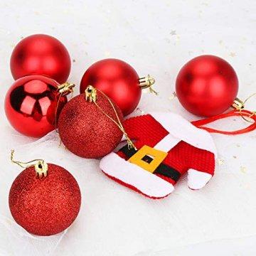 Aitsite Weihnachtskugeln Weihnachtsbaum 6 cm Kugeln Flitter Tür Christbaumkugeln Wandbehang Ornamente Dekorationen Baum Dekorative Kugeln - 4