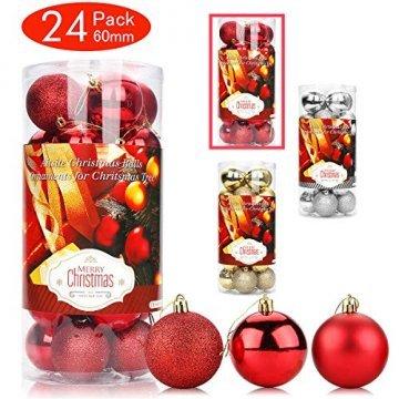 Aitsite Weihnachtskugeln Weihnachtsbaum 6 cm Kugeln Flitter Tür Christbaumkugeln Wandbehang Ornamente Dekorationen Baum Dekorative Kugeln - 1