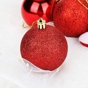 Aitsite Weihnachtskugeln Weihnachtsbaum 6 cm Kugeln Flitter Tür Christbaumkugeln Wandbehang Ornamente Dekorationen Baum Dekorative Kugeln - 5