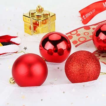 Aitsite Weihnachtskugeln Weihnachtsbaum 6 cm Kugeln Flitter Tür Christbaumkugeln Wandbehang Ornamente Dekorationen Baum Dekorative Kugeln - 6