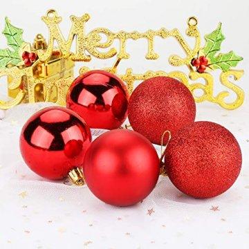 Aitsite Weihnachtskugeln Weihnachtsbaum 6 cm Kugeln Flitter Tür Christbaumkugeln Wandbehang Ornamente Dekorationen Baum Dekorative Kugeln - 7