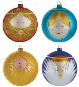 Alessi Weihnachtsbaumkugel Set 4-teilig - 4 Christbaumkugeln Maria, Josef, Jesus-Kind und Engel - 1