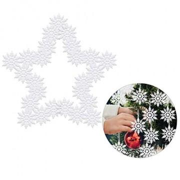 ASANMU Weihnachten Schneeflocken, 24 Stück Glitter Schneeflocken Deko Plastik Aufhängen Weihnachtsbaum Hängende Ornamente Schneeflocke Weihnachtsbaumschmuck Weihnachtsdeko Fensterdeko (Weiß, 7.5 cm) - 3