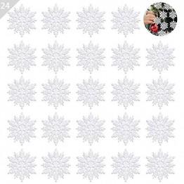 ASANMU Weihnachten Schneeflocken, 24 Stück Glitter Schneeflocken Deko Plastik Aufhängen Weihnachtsbaum Hängende Ornamente Schneeflocke Weihnachtsbaumschmuck Weihnachtsdeko Fensterdeko (Weiß, 7.5 cm) - 1