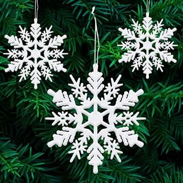 ASANMU Weihnachten Schneeflocken, 24 Stück Glitter Schneeflocken Deko Plastik Aufhängen Weihnachtsbaum Hängende Ornamente Schneeflocke Weihnachtsbaumschmuck Weihnachtsdeko Fensterdeko (Weiß, 7.5 cm) - 4