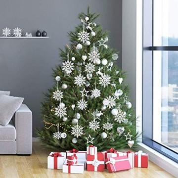 ASANMU Weihnachten Schneeflocken, 24 Stück Glitter Schneeflocken Deko Plastik Aufhängen Weihnachtsbaum Hängende Ornamente Schneeflocke Weihnachtsbaumschmuck Weihnachtsdeko Fensterdeko (Weiß, 7.5 cm) - 5