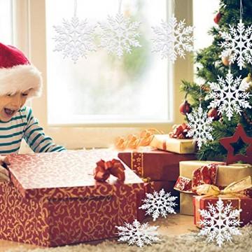 ASANMU Weihnachten Schneeflocken, 24 Stück Glitter Schneeflocken Deko Plastik Aufhängen Weihnachtsbaum Hängende Ornamente Schneeflocke Weihnachtsbaumschmuck Weihnachtsdeko Fensterdeko (Weiß, 7.5 cm) - 6