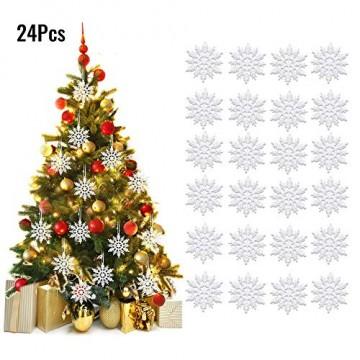 ASANMU Weihnachten Schneeflocken, 24 Stück Glitter Schneeflocken Deko Plastik Aufhängen Weihnachtsbaum Hängende Ornamente Schneeflocke Weihnachtsbaumschmuck Weihnachtsdeko Fensterdeko (Weiß, 7.5 cm) - 7