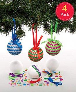 Baker Ross AT196 Bastelset Mosaik-Christbaumkugeln (4 Stück) -Weihnachten Kunst und Basteln für Kinder, Sortiert - 1