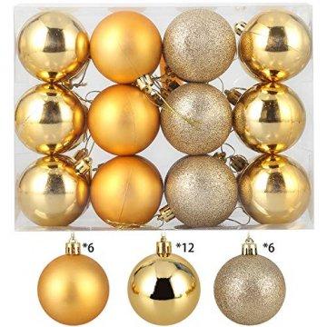 Baumkugeln 24 Stück 4cm Christbaumkugeln Weihnachtskugeln, Weihnachtsdekorationen Baumschmuck für Christmasbaum Weinachtsbaum Tannenbaum, für Weihnachten, Hochzeit, Jubiläum, Party, Feier usw. (gold) - 2
