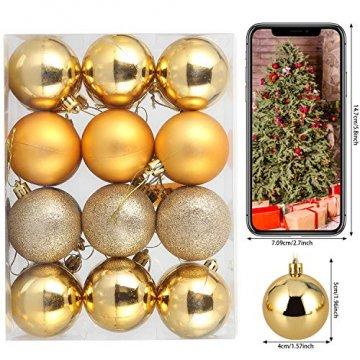 Baumkugeln 24 Stück 4cm Christbaumkugeln Weihnachtskugeln, Weihnachtsdekorationen Baumschmuck für Christmasbaum Weinachtsbaum Tannenbaum, für Weihnachten, Hochzeit, Jubiläum, Party, Feier usw. (gold) - 3