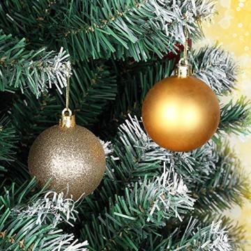 Baumkugeln 24 Stück 4cm Christbaumkugeln Weihnachtskugeln, Weihnachtsdekorationen Baumschmuck für Christmasbaum Weinachtsbaum Tannenbaum, für Weihnachten, Hochzeit, Jubiläum, Party, Feier usw. (gold) - 4