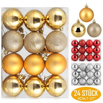 Baumkugeln 24 Stück 4cm Christbaumkugeln Weihnachtskugeln, Weihnachtsdekorationen Baumschmuck für Christmasbaum Weinachtsbaum Tannenbaum, für Weihnachten, Hochzeit, Jubiläum, Party, Feier usw. (gold) - 1