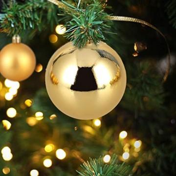 Baumkugeln 24 Stück 4cm Christbaumkugeln Weihnachtskugeln, Weihnachtsdekorationen Baumschmuck für Christmasbaum Weinachtsbaum Tannenbaum, für Weihnachten, Hochzeit, Jubiläum, Party, Feier usw. (gold) - 5