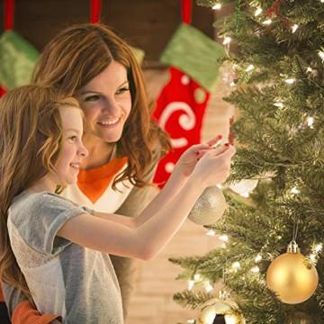 Baumkugeln 24 Stück 4cm Christbaumkugeln Weihnachtskugeln, Weihnachtsdekorationen Baumschmuck für Christmasbaum Weinachtsbaum Tannenbaum, für Weihnachten, Hochzeit, Jubiläum, Party, Feier usw. (gold) - 6