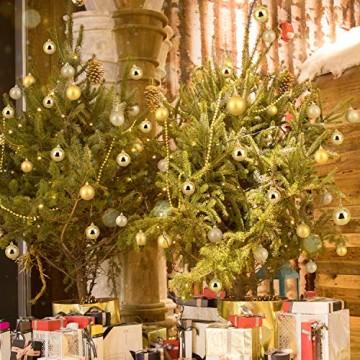Baumkugeln 24 Stück 4cm Christbaumkugeln Weihnachtskugeln, Weihnachtsdekorationen Baumschmuck für Christmasbaum Weinachtsbaum Tannenbaum, für Weihnachten, Hochzeit, Jubiläum, Party, Feier usw. (gold) - 8
