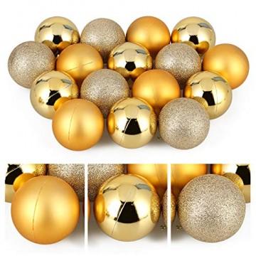 Baumkugeln 24 Stück 4cm Christbaumkugeln Weihnachtskugeln, Weihnachtsdekorationen Baumschmuck für Christmasbaum Weinachtsbaum Tannenbaum, für Weihnachten, Hochzeit, Jubiläum, Party, Feier usw. (gold) - 9