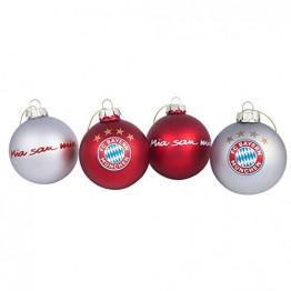Bayern München Christbaumkugeln / Weihnachtskugeln / Christbaum Schmuck 4er-Set FCB - plus gratis Aufkleber forever München - 1