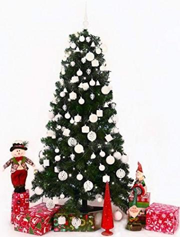 Brubaker 101-teiliges Set Weihnachtskugeln mit Baumspitze Weiß Grau Christbaumschmuck - 3