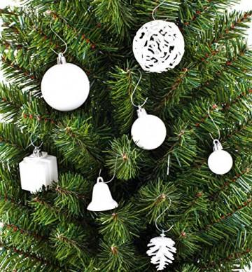 Brubaker 101-teiliges Set Weihnachtskugeln mit Baumspitze Weiß Grau Christbaumschmuck - 4