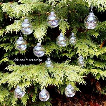 Christbaumkugeln 12 Stück, durchscheinend, runde Weihnachtsbaumkugeln aus Glas, Baumschmuck, 6 cm - 4