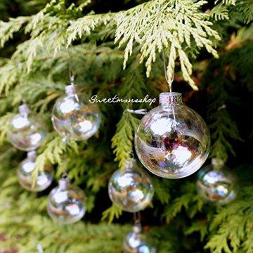 Christbaumkugeln 12 Stück, durchscheinend, runde Weihnachtsbaumkugeln aus Glas, Baumschmuck, 6 cm - 5