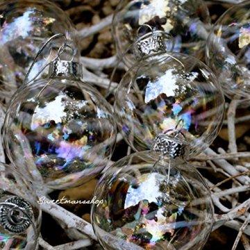 Christbaumkugeln 12 Stück, durchscheinend, runde Weihnachtsbaumkugeln aus Glas, Baumschmuck, 6 cm - 7
