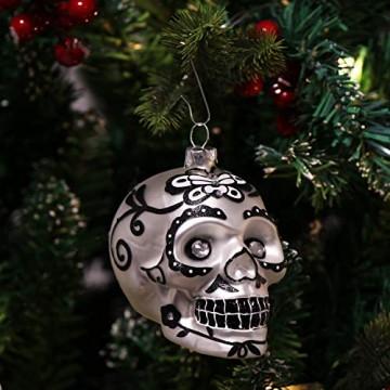 com-four® Weihnachtsbaumschmuck Totenschädel - Weihnachtsanhänger für den Christbaum - Weihnachtsbaum Deko aus Glas - Dia De Los Muertos (01 Stück - weiß/weiße Augen) - 2
