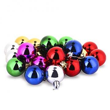 COOLWEST 24-teilig Weihnachtskugel-Set Weihnachtskugeln Christbaumkugeln Weihnachtsbaumschmuck Baumkugeln (Mehrfarbig) MEHRWEG - 7